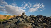 kocka alakú : Sliding camera Time Lapse of Abandoned slate mine waste materials