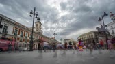 sol : Timelapse view of Puerta del Sol with blurred tourists Stock Footage