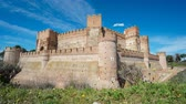 defensiva : Sliding camera time lapse of La Mota Castle Stock Footage