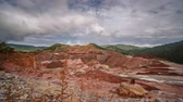 Kaolin strip mine sliding camera time-lapse Stockvideo