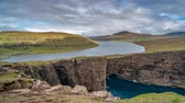 wide angle view : Sorvagsvatn lake over the cliffs of Vagar island time lapse, Faroe Islands Stock Footage