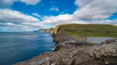 hrany : Bosdalafossur waterfall on Vagar island coastline wide timelapse, Faroe Islands