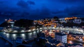 bevalling : Night over Luarca city time lapse, top view Stockvideo