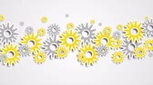 dişli çark : Bright yellow and gray abstract tech gears. Seamless looping. Animated background Ultra HD 4K 3840x2160 Stok Video