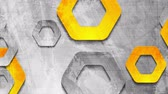 iridescente : Gray orange grunge wall and hexagons motion design Stock Footage