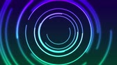 iridescente : Colorful neon glowing linear circles abstract video animation