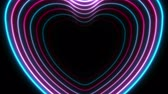 srdce : Blue purple neon glowing laser hearts video animation