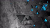 привет : Tech blue triangles on abstract grunge background video animation