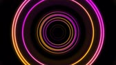 geometryczne : Orange and purple neon circles abstract futuristic video animation