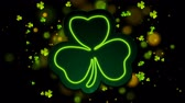 patron abstracto : Irish neon shamrock clover with bokeh lights