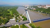most : Most SNP new bridge or UFO Bridge or Novy Most aerial panoramic view in Bratislava, Slovakia. SNP Bridge is a road bridge over the Danube river. Stock Footage