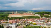 abadia : Melk Abbey Monastery aerial panoramic view. Stift Melk is a Benedictine abbey in Melk, Austria. Monastery located on a rocky outcrop overlooking the Danube river and Wachau valley.