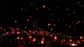 religion : Floating lanterns in Yee Peng Festival, Loy Krathong celebration