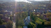 プロテスタント : Aerial point of view drone footage of a protestant church in Transylvania, Romania