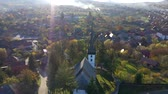 プロテスタント : Aerial drone footage of a protestant church in Transylvania, Romania 動画素材