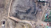 urban waste : Aerial view of large landfill. Waste garbage dump, environmental pollution