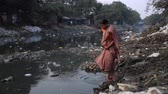 sari : Kolkata, India, January 2016. A woman prays in a heavily polluted river in a slum of Kalighat. Stock Footage