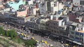 congestionamento : Old Delhi, India, November 2011: Aerial view of the narrow streets full of vehicles and people.