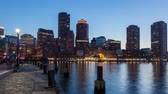 4k : 4K Night timelapse of Boston skyline - Massachusetts - USA