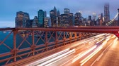 Brooklyn bridge car traffic light timelapse - New York - USA