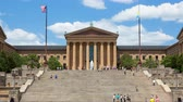 philadelphia pennsylvania : Timelapse of people moving in front of the Philadelphia Art museum stairs steps - pennsylvania - USA Stock Footage