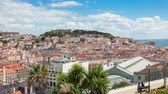 4K timelapse of Lisbon rooftop from Sao Pedro de Alcantara viewpoint  Miradouro in Portugal  UHD