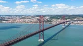 4K timelapse of 25 de Abril April Bridge in Lisbon  Portugal  UHD Stock Footage