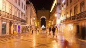 4K night timelpase of Augusta street near commerce square in Lisbon  Portugal  UHD