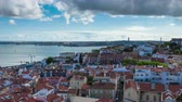 4K timelapse of Lisbon rooftop from Sao Vicente de fora church  in Portugal  UHD Stock Footage