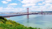 4K view of 25 de Abril April Bridge in Lisbon  Portugal  UHD Stock Footage