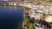 4K Aerial footage of Montreux - Leman Lake waterfront, Switzerland