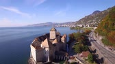 4K Aerial footage of Chillon Castle in Montreux, Switzerland