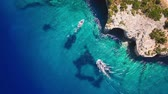 4K (UHD) Aerial view of  Agios Nikolaos blue caves  in Zakynthos (Zante) island, in Greece Stock Footage