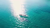 4K (UHD) Aerial view of a boat mooring in  Keri bay in Zakynthos (Zante) island, in Greece Stock Footage