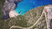 4k Aerial view of Navagio beach Shipwreck view in Zakynthos (Zante) island, in Greece Dostupné videozáznamy