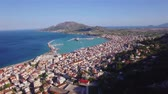 4K Aerial view of Zakynthos city from Bochali in Zante island, in Greece