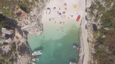 греческий : 4K Ungraded Aerial view of Porto Vromi beach in Zakynthos (Zakynthos) island, in Greece - Log