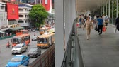 skywalk : Bangkok - Thailand, 3 Aug 2019: Pratunam area traffic jam And there are many people visiting Stock Footage