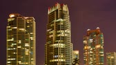 renk : Buildings in Miami Beach night, time lapse Stok Video