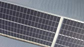 coletor : Aerial footage of solar electricity power plant panels on an industrial roof top