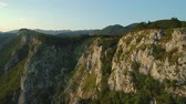 Aerial footage of Mountain range Gora plateau above Vipava valley in Slovenia central Europe