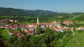 aerial clip Ancient villageGoce above Vipava Valley