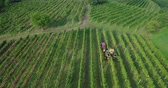 4k aerial footage of grape harvest in vineyard with machinery tractor harvester in autumn Vídeos