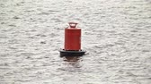 kikötve : Red buoy sways on the water Stock mozgókép