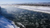 река : Winter in Tokachi district, beautiful river scenery.