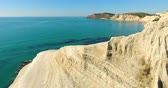 turks : Top view of a white Turkish mountain in Agrigento, azure Mediterranean Sea