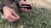 оружие : Ammunition for rifles are loaded into the cartridge. Slow Motion at a rate of 120 fps Стоковые видеозаписи