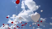 Balloons in the form of red and white hearts soar in the sky. Slow Motion at a rate of 240 fps