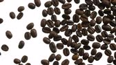 tahıl : Selected Coffee Beans in White. On the white luminous screen appears coffee beans. Filmed at a speed of 240fps Stok Video