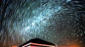 planetas : Star trail and a tend in the desert Archivo de Video